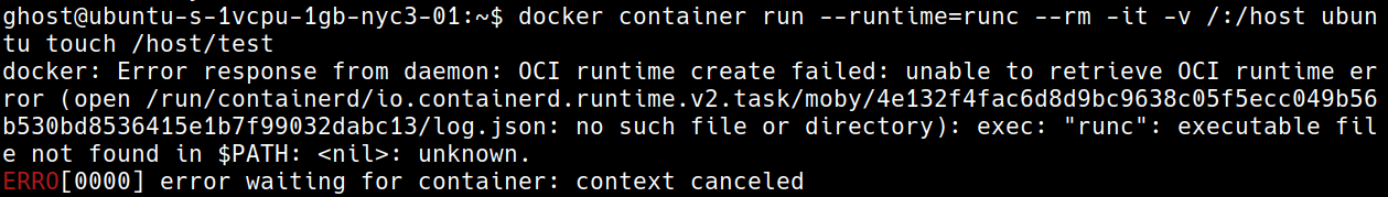 container not being able to launch